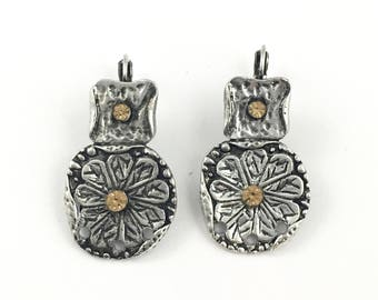 1 pair (2 pieces)  chandelier earring antique silver, 21mm x 40mm  #FIN E 037
