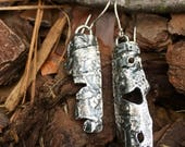 Organic OOAK Rustic Gypsystyle Unique Boho Sustainable Recycled Sterling Silver Dangle  Earrings by susan Wachler of Metal Dance Jewelry, AT