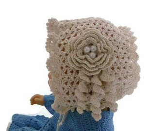 Off White crochet bonnet, christening baby bonnet, baptism baby bonnet, crochet christening bonnet, baby hat
