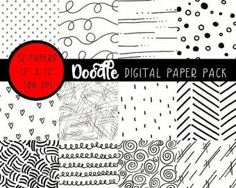 ON SALE Black and White Doodle Paper, Black and White Digital Paper, Black and White Digital Doodle Paper, Black and White Scrapbook Paper