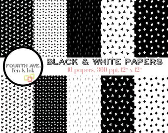 Geometric Digital Paper, Black and White, Geometric, Doodle, Minimal, Scrapbook Paper, Digital Scrapbook, Collage Paper,