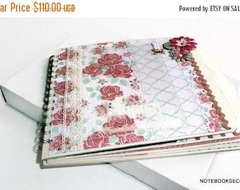 ON SALE Wedding Scrapbook Album Keepsake Memory Book Elegants Floral Cowberry Mint White Black Gift Photo Album