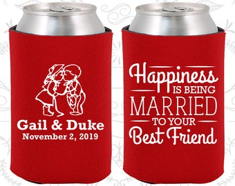 Happiness is Being Married to your Best Friend, Personalized Gift, Bride and Groom, Country Wedding Gift, Wedding Can Cooler (514)