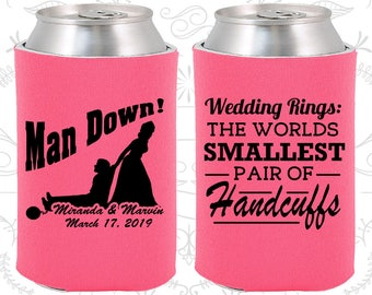 Hot Pink Wedding, Hot Pink Can Coolers, Hot Pink Wedding Favors, Hot Pink Wedding Gift, Hot Pink Wedding Decor (501)