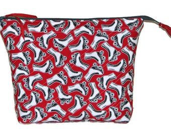 Large Quilted Zippered Pouch, Quilted Cosmetics Bag, Project Bag, Red and White Roller Skates, Quiltsy Handmade
