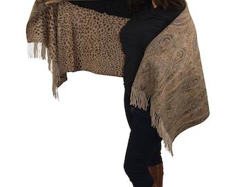 Cashmere Pashmina Group-Cashmere Shawl Scarf Wrap (Solid/Reversible Print w/Real Fur) Ecru