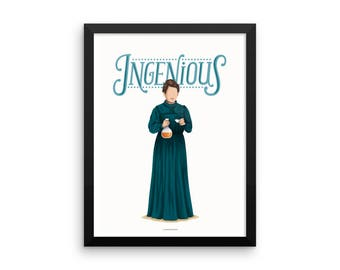 FRAMED Marie Curie Ingenious Poster, The Future is Female, Science Gift for Her, Who Run the World, Girls Fun Pop Art, Women, Feminism Art