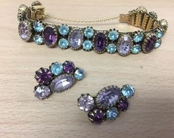 Rare Vintage Signed Vendome Matching Bracelet and Earring Set