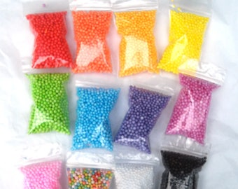"Small Foam Balls Beads for Slime Many Colors You Choose Bag Size 2"" x 3"" Crafting Styrofoam floam bead Rainbow Multi color tiny confetti"