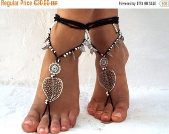 "SALES-20% Aliera"" Barefoot Sandals, feet Jewelry, barefoot sandal, Hippie Sandals, Foot Jewelry, Toe Thong"