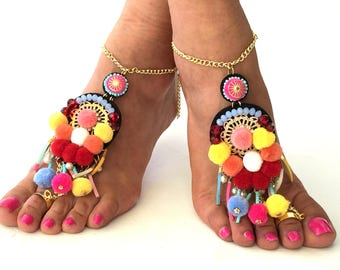 "Barefoot Sandals,""Brazil"" Greek leather sandals, black Hippie Sandals, Foot Jewelry, Toe Thong, festival accessories for feet,"