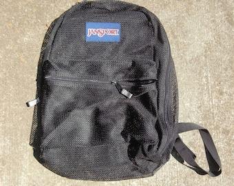 NWOT Jansport Unisex Mesh See Through Classic Backpack School Gym Book Bag Black Night