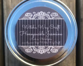 Honeysuckle Jasmine Scented Soy Candle // Artisan Candle // Aromatherapy Candle // Spa Day // Essential Oils