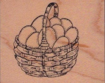 """Easter Basket with Eggs Rubber Stamps (1"""" wide X 1-1/2: Tall)"""