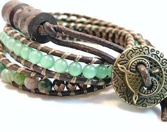 Clearance Green aventurine leather wrap bracelet