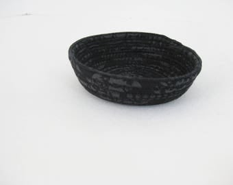 Hand Coiled Fabric Bowl, Small Black Basket