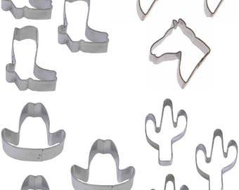 1 Dozen 12 Mini Western Cookie Cutters Party Favor Horse Head Cowboy Boot Cactus Hat