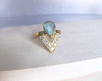 rough aquamarine ring, aquamarine ring, aquamarine jewelry, ooak ring, gemstone ring, blue gemstone ring, March birthstone, raw crystal ring