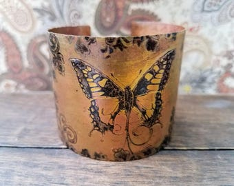 Salvaged Copper butterfly cuff bracelet