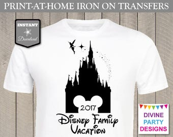 INSTANT DOWNLOAD Print at Home Castle Disney Family Vacation 2017 Iron On Transfer / Printable / T-shirt / Item #3134