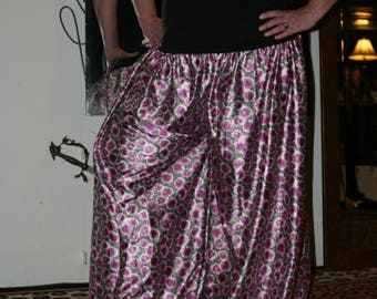 Purple and White Silky Fabric Pantaloons