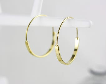 Gold-plated round hoop earrings
