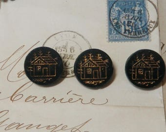 Antique Etched Black Glass Buttons with Gold Trim Cabin In the Woods