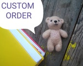 Tiny Bear toy for kids, needle felted  toy bear