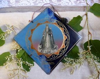 Antique french religious souvenir. Glass lithograph Madonna image. Virgin Mary. Notre Dame. Religious souvenir. Christian home decor.