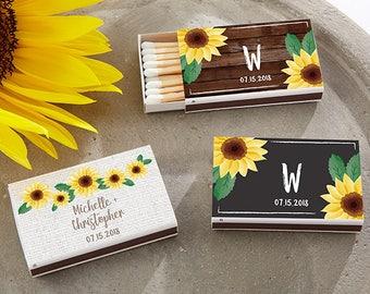 Set of 50 Matchbox Wedding Favors with Sunflowes Design - Custom Garden Wedding Matches (28257-SFL)
