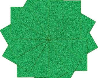 "Pre-cut Sheets Glitter Heat Transfer Vinyl - Green - 12 Sheets - 10""x12"""