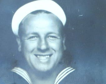 He Remember Her Fondly - 1940's WW II Era Sailor Boy Flashes His Smile Photo Booth Photo