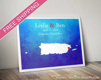 Custom Puerto Rico Print with Watercolor Background - Wedding Guest Book, Wedding Gift, Engagement Gift, Anniversary Gift