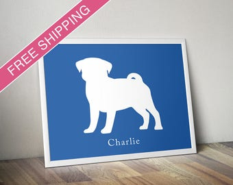 Personalized Pug Silhouette Print with Custom Name (Version 2) - Pug art, modern dog home decor, dog gift, dog poster