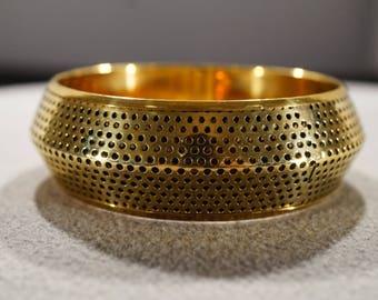 Vintage Art Deco Style Brass Stackable Round Bangle Bracelet Jewelry -K#59