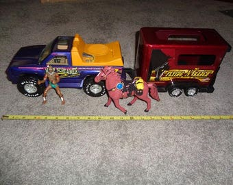 Pick up truck with horse trailer and horse and rider ,Vintage metal toy made by Nylint