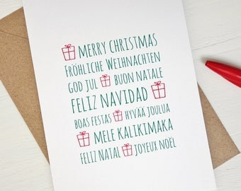 Christmas card Merry christmas in many languages greeting cards christmas gifts green