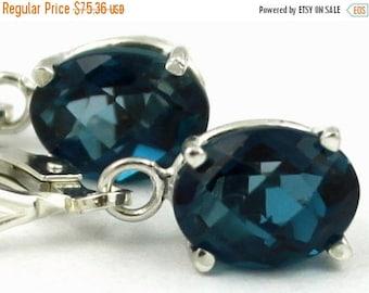 On Sale, 20% Off, London Blue Topaz, 925 Sterling Silver Leverback Earrings, SE007