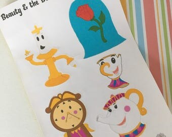 Handmade Beauty and the Beast Character Art Stickers/Journal Stickers