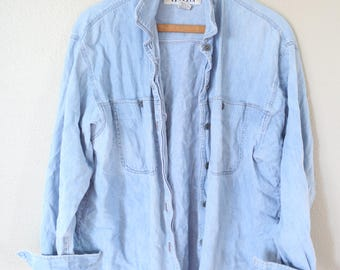 vintage 1990's oversized  blue chambray denim shirt womens