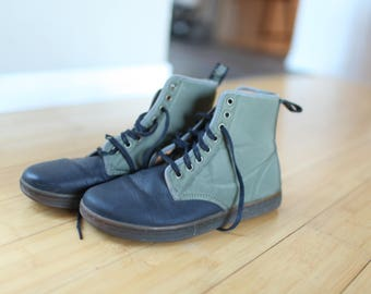vintage dr martens olive drab green canvas  & black leather  military boots lace up mens 9