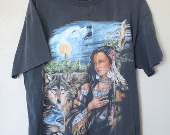 vintage black distressed & faded indian woman wolf moon forest  t shirt