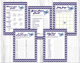 Five Printable Party Games, Baby Shower Games, Aviation Theme, Airplane, Blue Chevron, 5x7 size