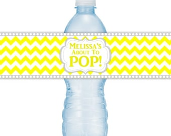 CUSTOM Baby Shower Water Bottle Labels, Printable Yellow Chevron About to Pop Water Bottle Stickers, DIY water bottle labels
