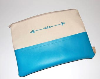 Teal Cosmetic Bag, Canvas Pouch, Vegan Leather Bag, Makeup Bag, Purse Organizer, Purse Pouch, Zipper Pouch, Embroidered Clutch, Navy Pouch