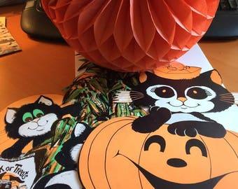 Vintage Halloween Decorations Black Velvet Cats Crepe Paper Pumpkin USA Peck Incorporated St Paul MN