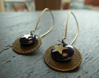 """Earrings """"Assembly of stars with Eggplant sequins and brass bells on"""""""