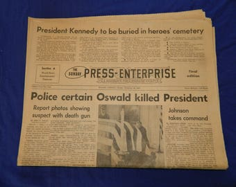Kennedy Assassination 11 - 24 - 63 The Press-Enterprise Riverside Newspaper