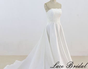 Modest Lace Wedding Dress Simple A Line Wedding Dress Satin Wedding Gown with Chapel Train
