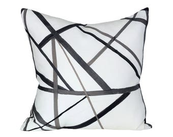 Kelly Wearstler Channels Ebony/Ivory designer pillow cover - Made to Order - Choose Your Size